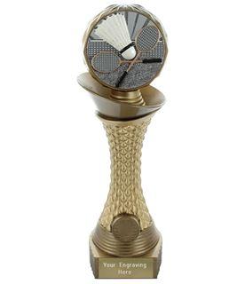 "Badminton Trophy Heavyweight Hemisphere Tower Gold & Bronze 30.5cm (12"")"