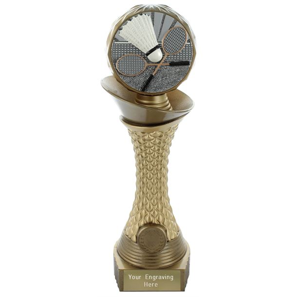 "Badminton Trophy Heavyweight Hemisphere Tower Gold & Bronze 25.5cm (10"")"