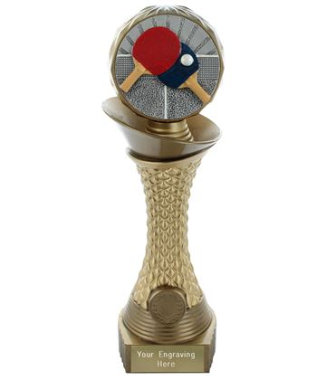 "Table Tennis Trophy Heavyweight Hemisphere Tower Gold & Bronze 25.5cm (10"")"