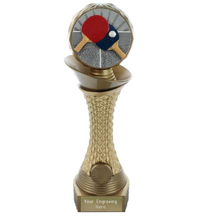 "Table Tennis Trophy Heavyweight Hemisphere Tower Gold & Bronze 30.5cm (12"")"