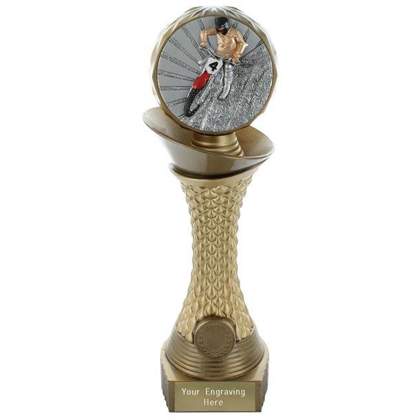 "Motocross Trophy Heavyweight Hemisphere Tower Gold & Bronze 23cm (9"")"