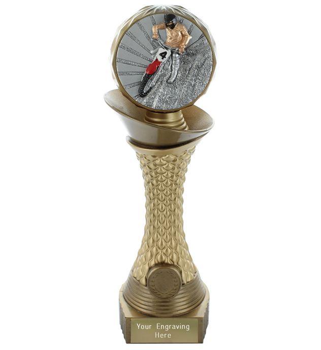 "Motocross Trophy Heavyweight Hemisphere Tower Gold & Bronze 25.5cm (10"")"