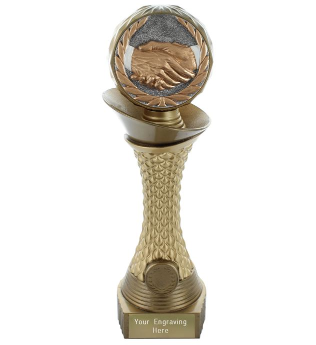 "Handshake Trophy Heavyweight Hemisphere Tower Gold & Bronze 23cm (9"")"