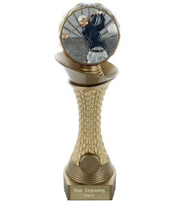 "Golf Trophy Heavyweight Hemisphere Tower Gold & Bronze 30.5cm (12"")"