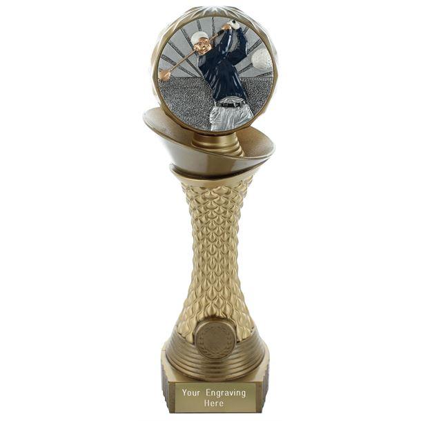 "Golf Trophy Heavyweight Hemisphere Tower Gold & Bronze 23cm (9"")"