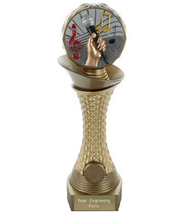 "Music Trophy Heavyweight Hemisphere Tower Gold & Bronze 25.5cm (10"")"