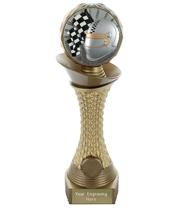 "Motorsport Trophy Heavyweight Hemisphere Tower Gold & Bronze 25.5cm (10"")"