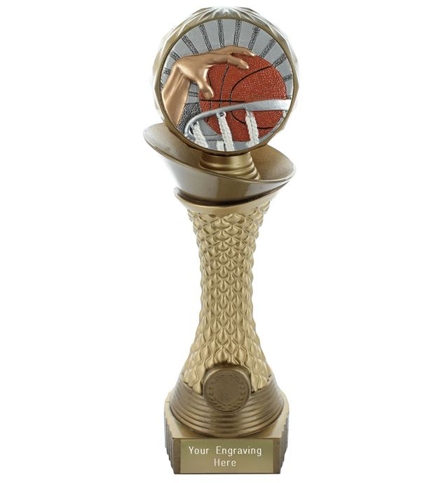 "Basketball Trophy Heavyweight Hemisphere Tower Gold & Bronze 25.5cm (10"")"