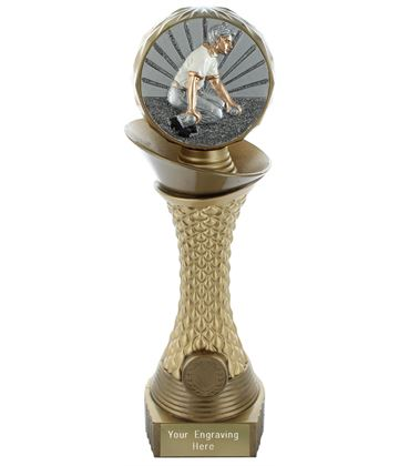 "Bowls Trophy Heavyweight Hemisphere Tower Gold & Bronze 25.5cm (10"")"