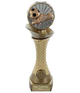"""Football Boot & Ball Trophy Heavyweight Hemisphere Tower Gold & Bronze 30.5cm (12"""")"""