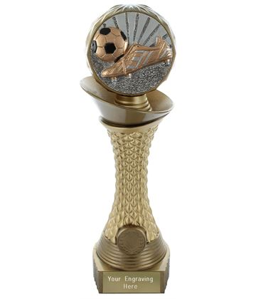 "Football Boot & Ball Trophy Heavyweight Hemisphere Tower Gold & Bronze 25.5cm (10"")"