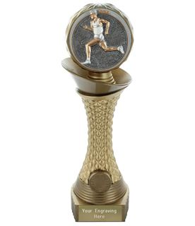 "Male Running Trophy Heavyweight Hemisphere Tower Gold & Bronze 30.5cm (12"")"