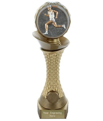 "Male Running Trophy Heavyweight Hemisphere Tower Gold & Bronze 25.5cm (10"")"