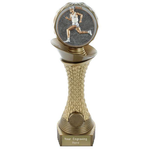 "Male Running Trophy Heavyweight Hemisphere Tower Gold & Bronze 25.5cm (10"")"