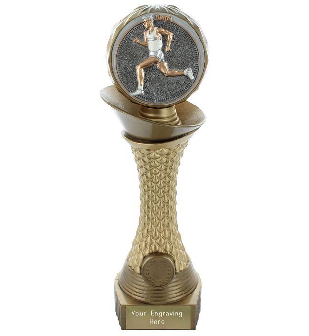 "Male Running Trophy Heavyweight Hemisphere Tower Gold & Bronze 30.5cm (12"")"