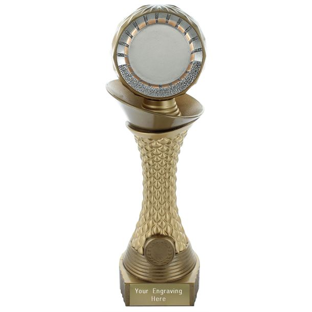 "Multi Award Trophy 50mm Heavyweight Hemisphere Tower Gold & Bronze 30.5cm (12"")"