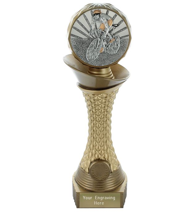 "Cycling Trophy Heavyweight Hemisphere Tower Gold & Bronze 30.5cm (12"")"