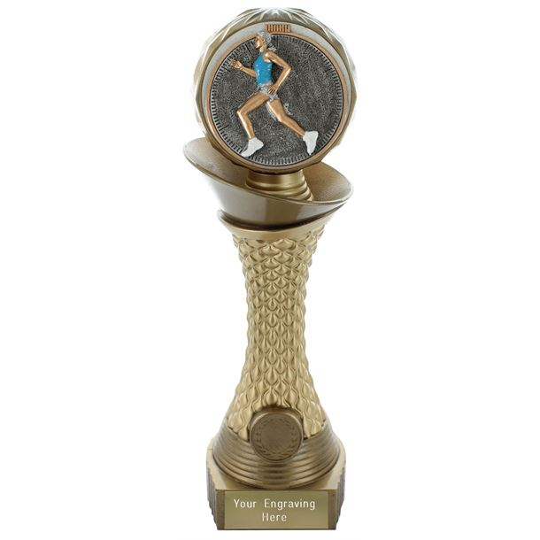 "Female Running Trophy Heavyweight Hemisphere Tower Gold & Bronze 23cm (9"")"