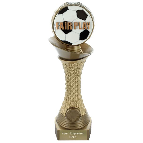 "Fair Play Trophy Heavyweight Hemisphere Tower Gold & Bronze 23cm (9"")"