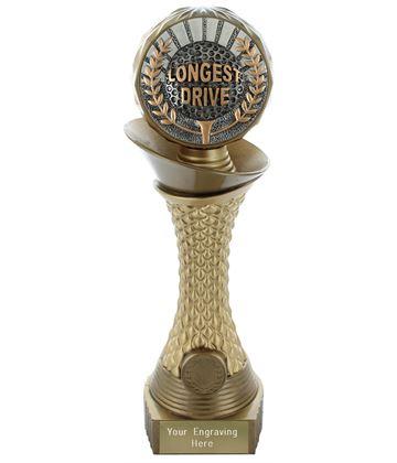 "Longest Drive Golf Trophy Heavyweight Hemisphere Tower Gold & Bronze 30.5cm (12"")"