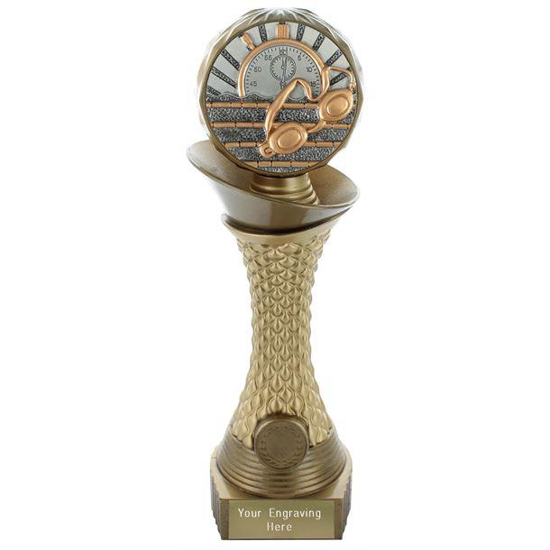 "Swimming Trophy Heavyweight Hemisphere Tower Gold & Bronze 25.5cm (10"")"