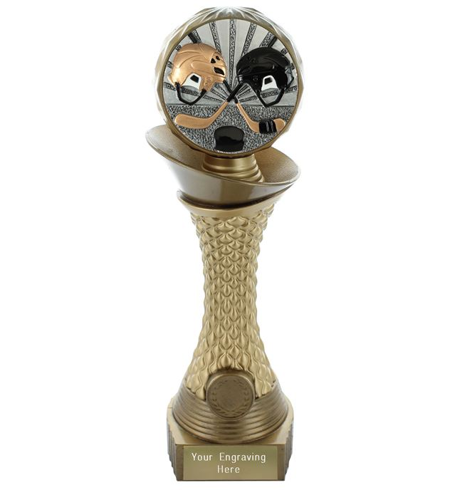 "Ice Hockey Trophy Heavyweight Hemisphere Tower Gold & Bronze 23cm (9"")"