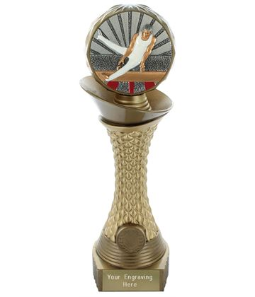 "Male Gymnastics Trophy Heavyweight Hemisphere Tower Gold & Bronze 25.5cm (10"")"