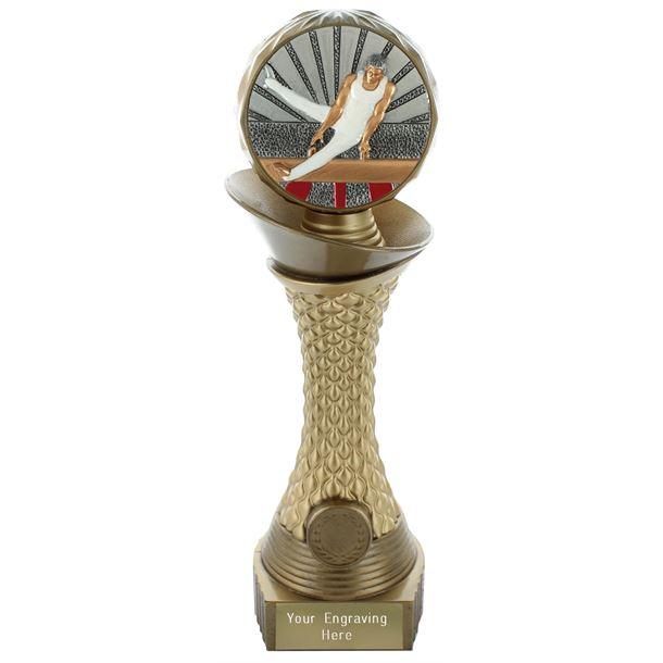 "Male Gymnastics Trophy Heavyweight Hemisphere Tower Gold & Bronze 25.5cm (10"")"