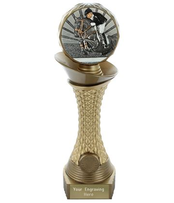 "Show Jumping Trophy Heavyweight Hemisphere Tower Gold & Bronze 25.5cm (10"")"