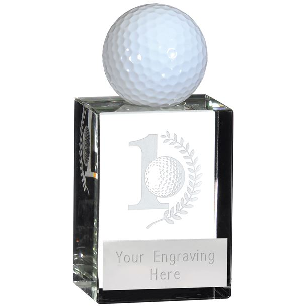 """Hole in One Glass Crystal Golf Ball Holder 7.5cm (3"""")"""