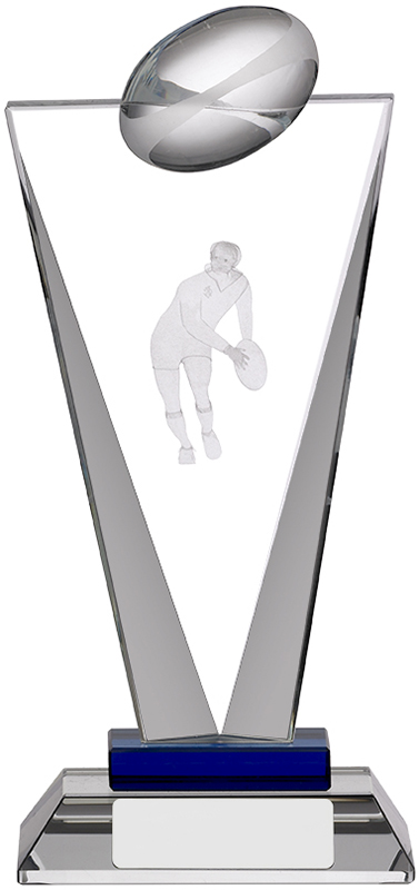 "Rugby Pinnacle Glass Award 18.5cm (7.25"")"