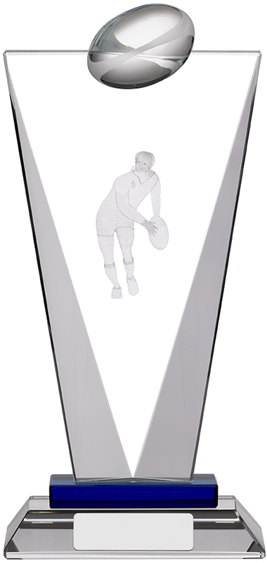 "Rugby Pinnacle Glass Award 22cm (8.75"")"
