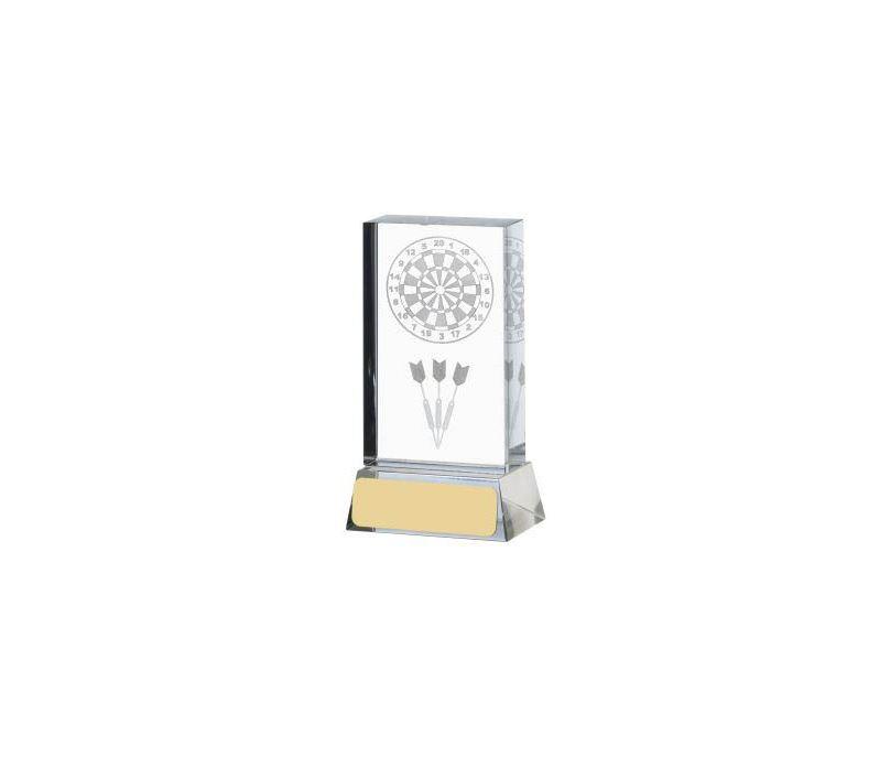 """Darts & Dartboard Glass Column Award 11cm (4.25"""")"""