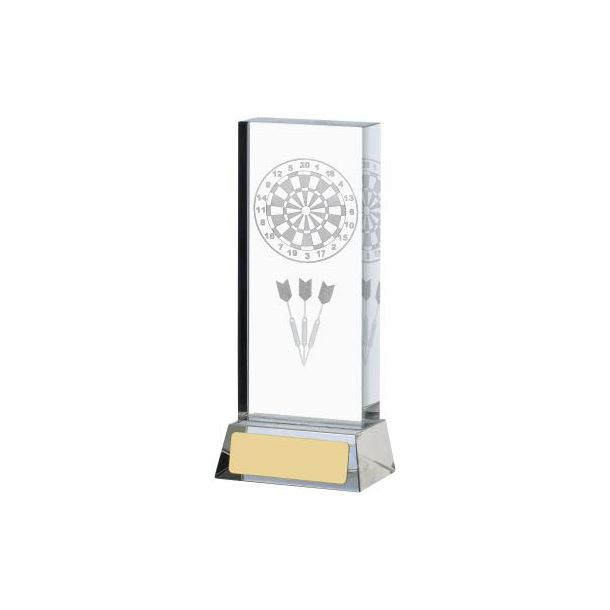 "Darts & Dartboard Glass Column Award 14.5cm (5.75"")"