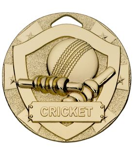"Gold Mini Shield Cricket Medal 50mm (2"")"