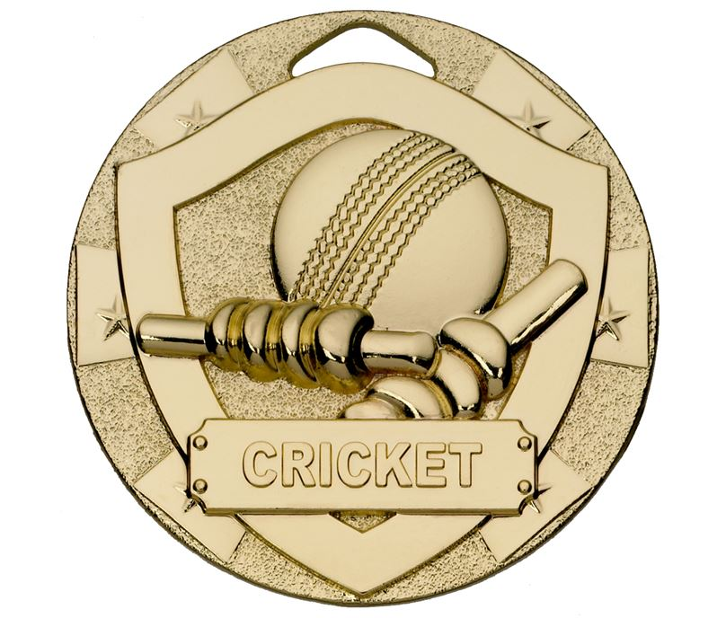 "Gold Mini Shield Cricket Medal 50mm (2"")"