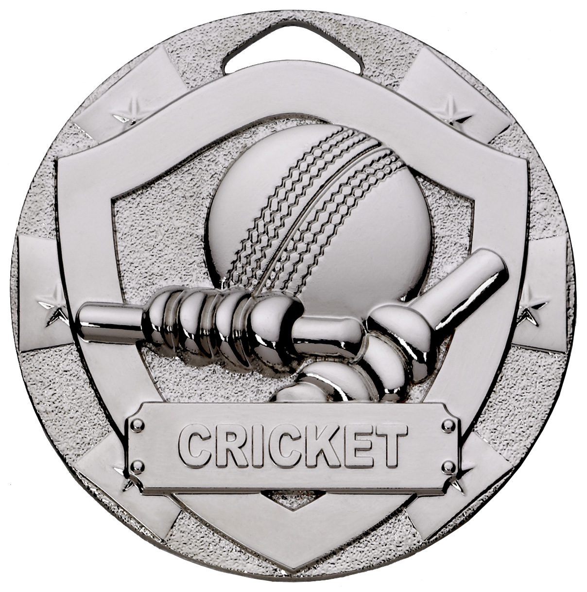 "Silver Mini Shield Cricket Medal 50mm (2"")"