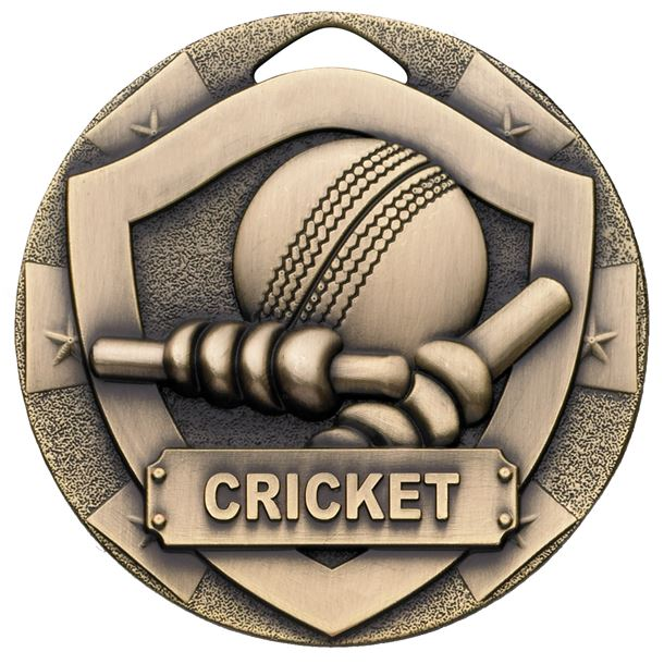 "Bronze Mini Shield Cricket Medal 50mm (2"")"