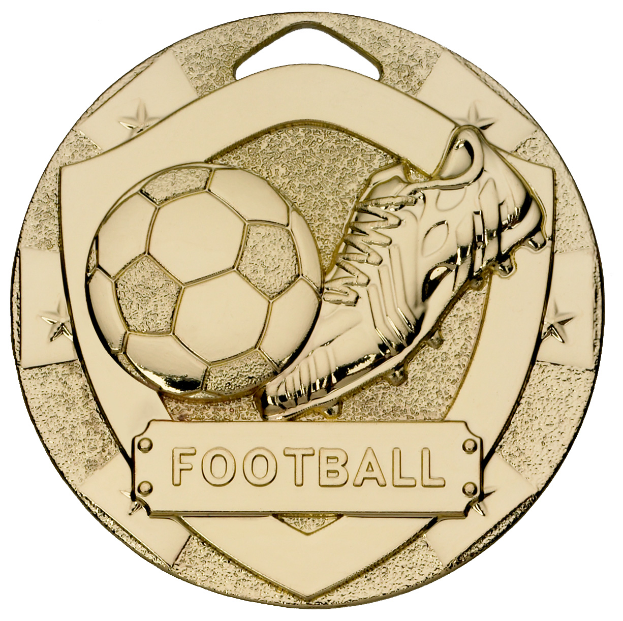 "Gold Mini Shield Football Medal 50mm (2"")"