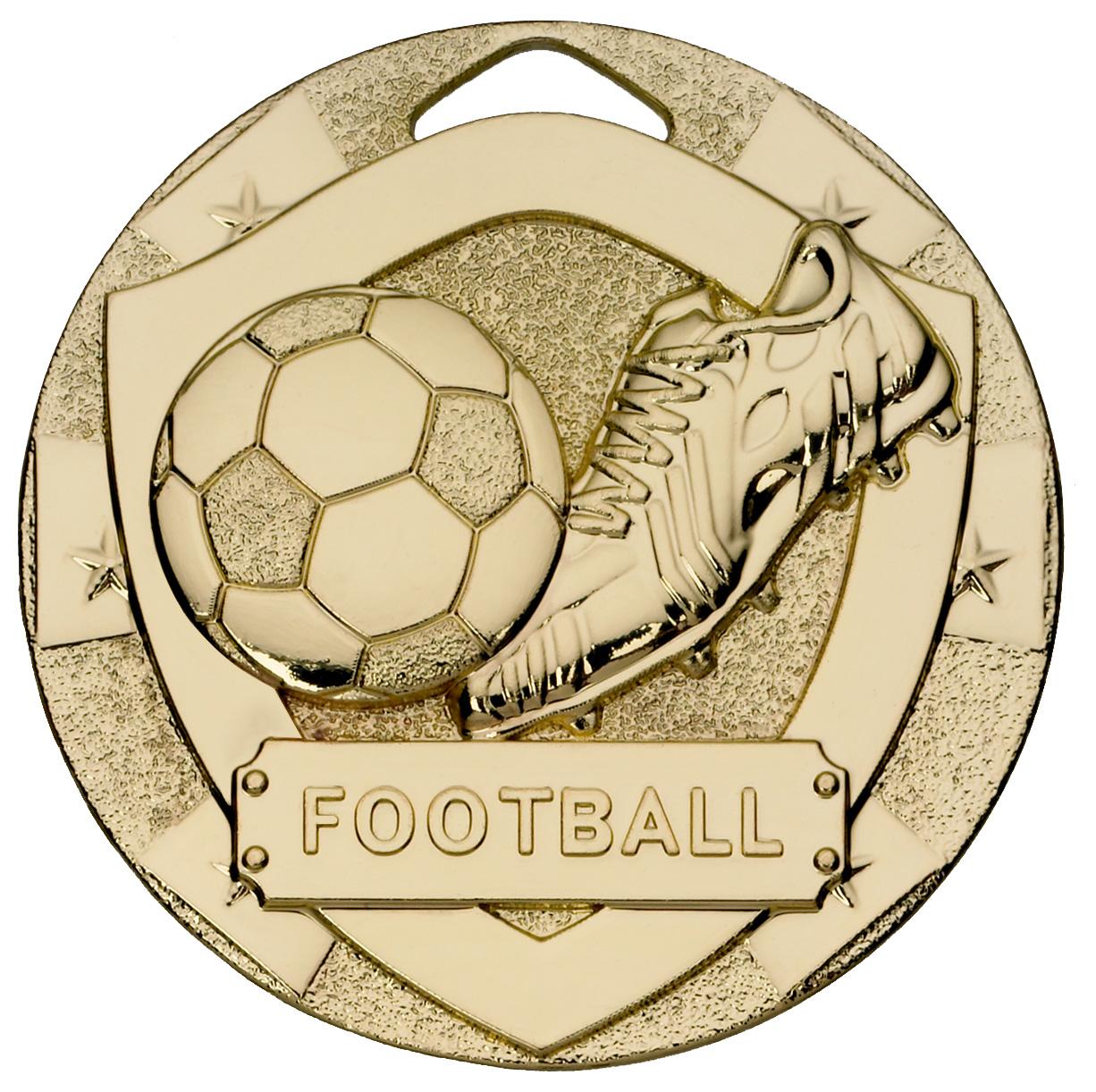 "Gold Mini Shield Football Medal 50mm (2"")"