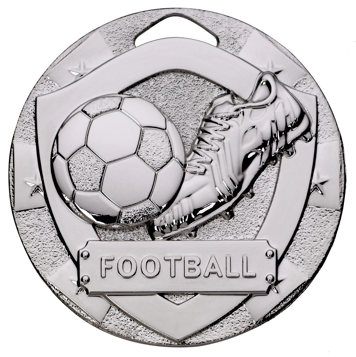 "Silver Mini Shield Football Medal 50mm (2"")"