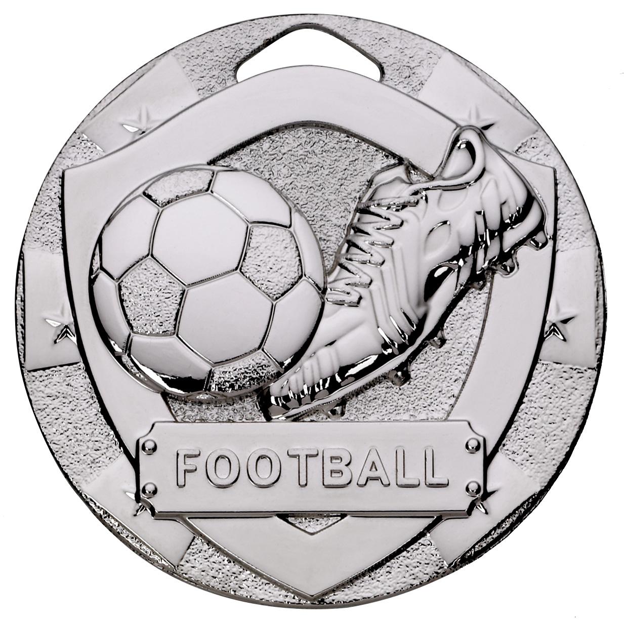 "Silver Mini Shield Football Medal 50mm (2"")"