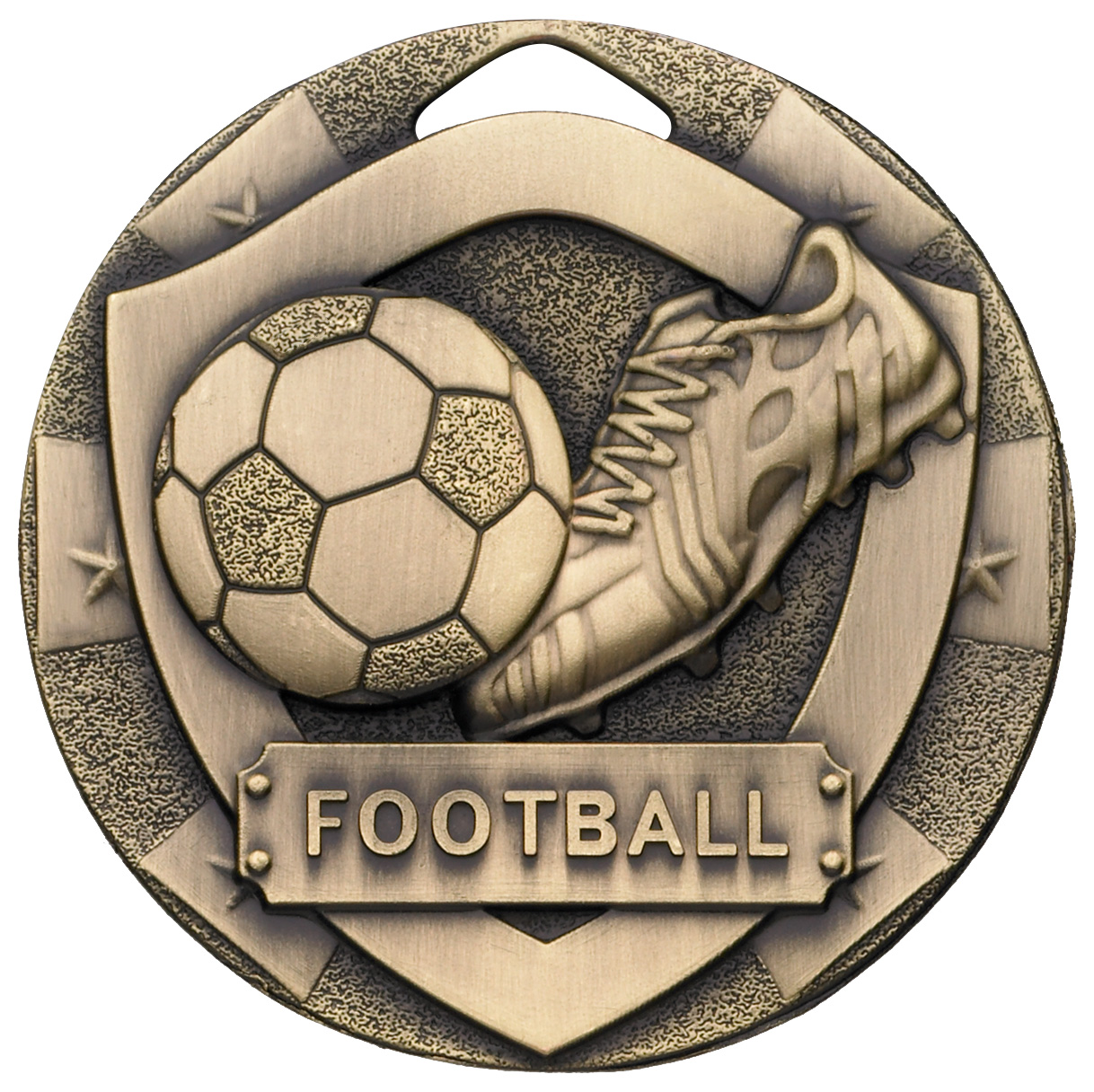 "Bronze Mini Shield Football Medal 50mm (2"")"