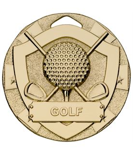 "Gold Mini Shield Golf Medal 50mm (2"")"