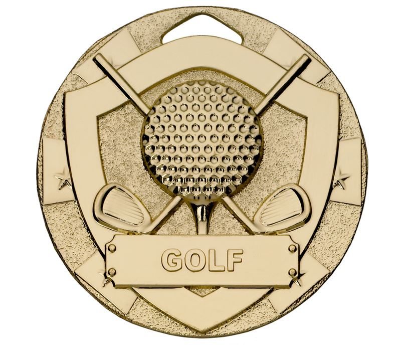 "Gold Mini Shield Golf Medal 50mm (2"")"
