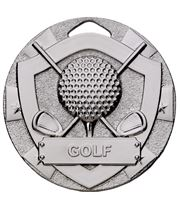 "Silver Mini Shield Golf Medal 50mm (2"")"