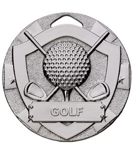 "Silver Mini Shield Golf Medal 50mm (2"")"