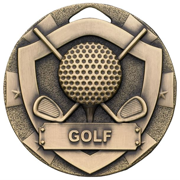 "Bronze Mini Shield Golf Medal 50mm (2"")"