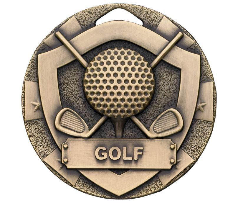 "Bronze Mini Shield Golf Medal 50mm (2"")"