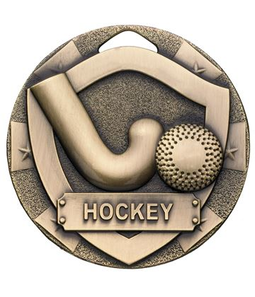 "Bronze Mini Shield Hockey Medal 50mm (2"")"